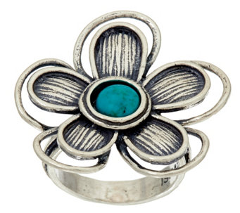"""As Is"" Sterling Silver & Turquoise Flower Ring by Or Paz - J331927"