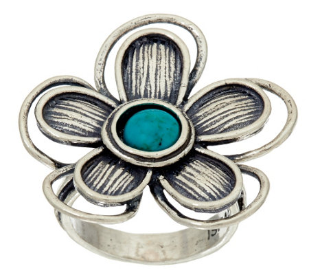"""As Is"" Sterling Silver & Turquoise Flower Ring by Or Paz"