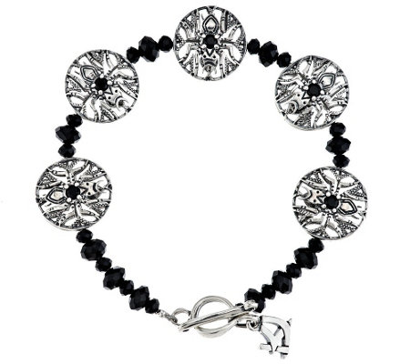 """As Is"" Kenneth Johnson Sterling Spider Black Spinel Bracelet"
