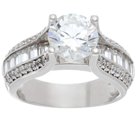 Diamonique 3.10 cttw Bridal Ring, Platinum Clad