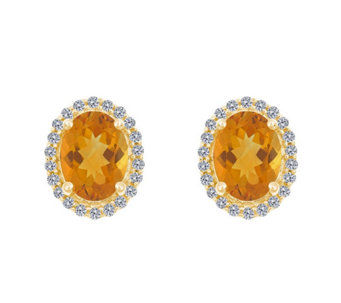 Premier Oval Gemstone & 1/5cttw Diamond Earrings, 14K - J336127