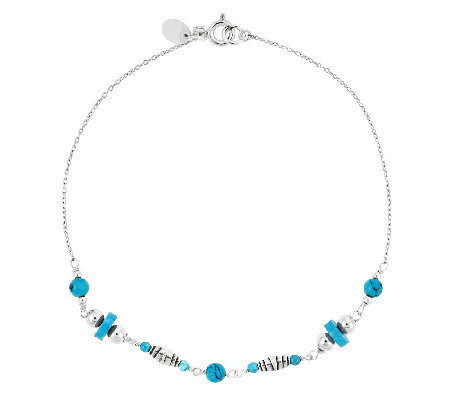 "Sterling 9"" Turquoise Bead Ankle Bracelet"