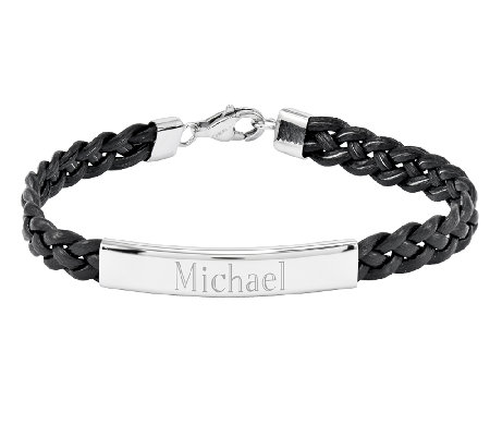 Stainless Steel Engravable Braided Leather ID Bracelet
