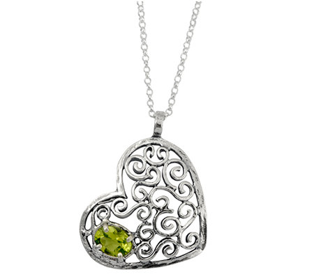 Or Paz Sterling Peridot Heart Pendant with Chain