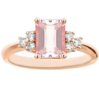 Premier Emerald-Cut 1.20cttw Morganite & Diamond Ring, 14K - J338227