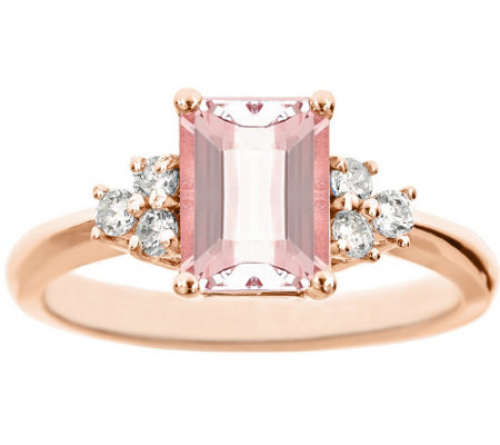 Premier Emerald-Cut 1.20cttw Morganite & Diamond Ring, 14K