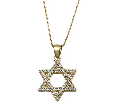 Adi Paz Crystal Star of David Pendant with Chain, 14K Gold