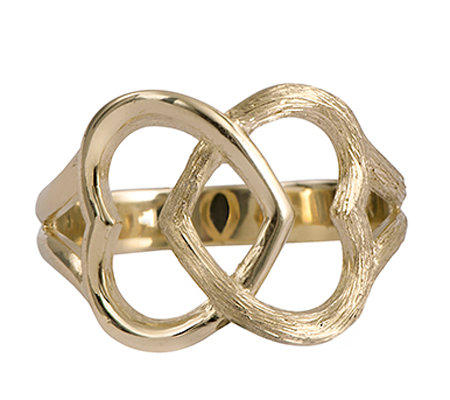 14K Gold Interlocking Hearts Ring by Adi Paz