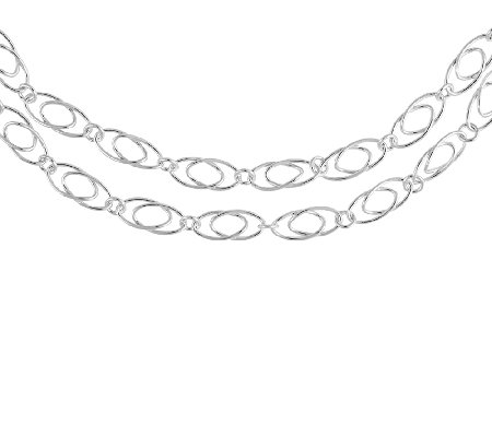 "Sterling Double Oval Link 42"" Necklace, 1/4""W"