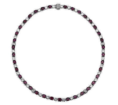 Judith Ripka Sterling Rose Garnet & DiamoniqueTennis Necklace