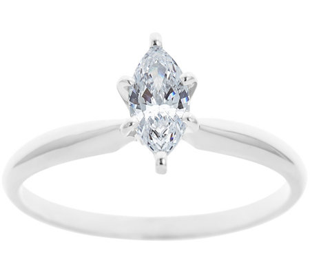 Solitaire Diamond Ring, 14K White Gold 1/4cttw, by Affinity