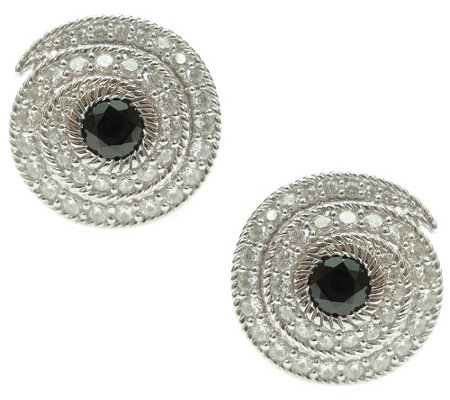 Judith Ripka Sterling Black Spinel Diamonique Button Earrings
