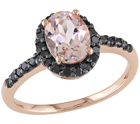 1.10ct Morganite & 1/4ct Black Diamond Ring