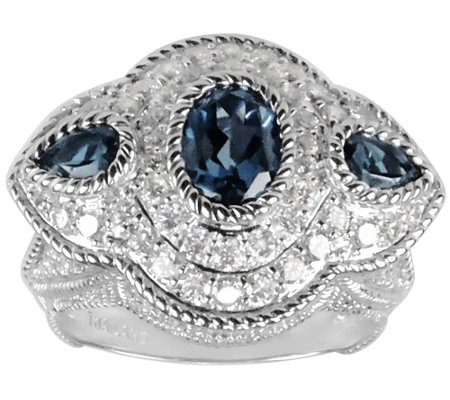 Judith Ripka Sterling, London Blue Topaz & Diamonique Ring