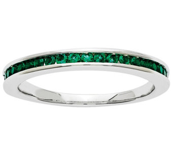 Simulated Gemstone Band Ring, 14K White Gold - J342227