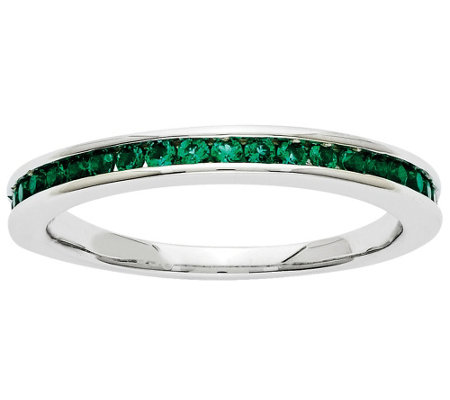 Simulated Gemstone Band Ring, 14K White Gold