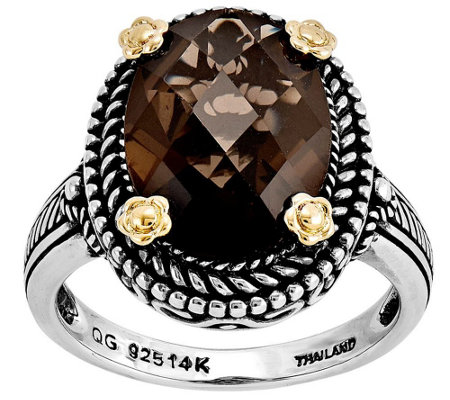 Sterling and 14K Gold 4.25 ct Smoky Qu artz Ring