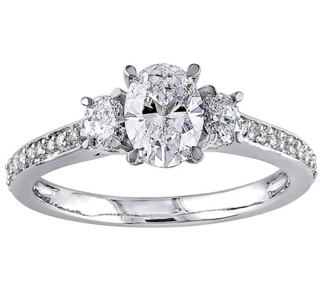 Oval & Round Diamond Ring, 1.10 cttw, 14K Goldby Affinity