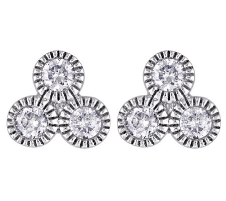 Diamond Stud Earrings, 14K White Gold, 3/10 cttw, by Affinity