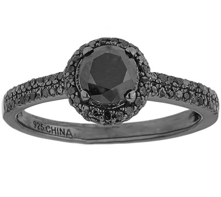 Black Diamond Ring, Sterling, 1.00 cttw, by Affinity