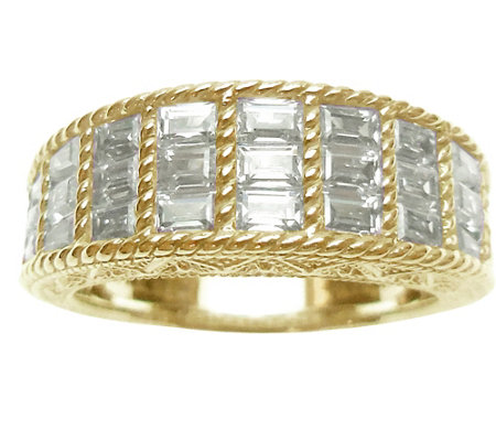 Judith Ripka 14K Clad & Baguette Diamonique Ring