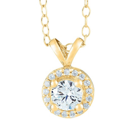 Round Halo Diamond Pendant, 14K Yellow, 1/2 cttw,by Affinity
