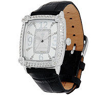 Judith Ripka Stainless Steel Diamonique Leather Watch - J346327