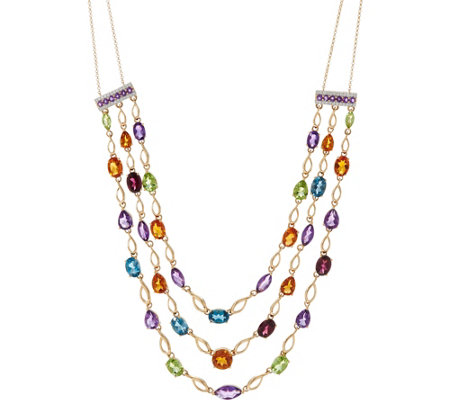 Multi-Cut Semi-Precious Gemstone Layer Necklace, 14K 18.70 cttw