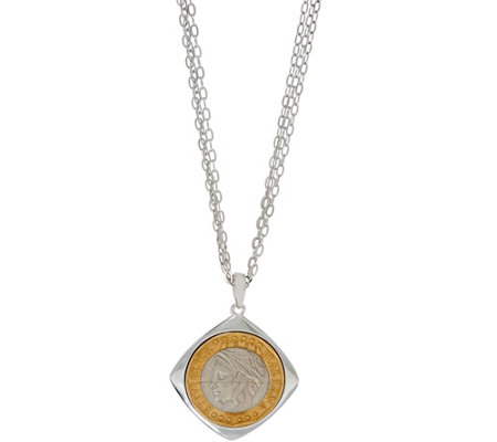 "Italian Silver 1000 Lire Pendant with 30"" Chain Sterling, 18.1g"