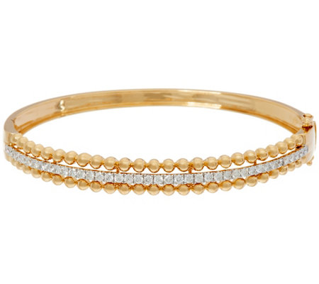 """As Is"" White Diamond Small Bead Bangle, 14K, 1.10 cttw, by Affinity"