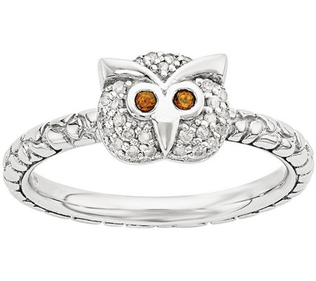Simply Stacks Sterling Garnet & 1/10 cttw Diamond Owl Ring