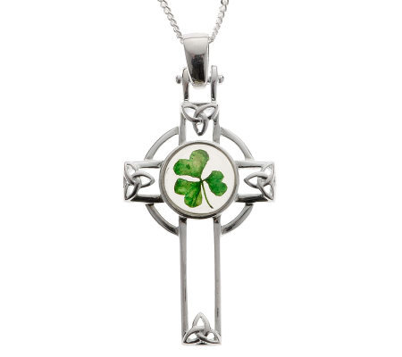 Sterling Silver Celtic Cross and Shamrock Pendant with 18