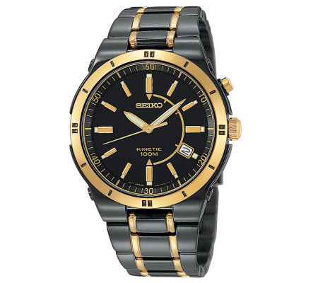 Seiko Men's Kinetic Black/Goldtone Watch
