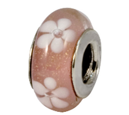 Prerogatives Sterling Pink with White Floral Glass Bead