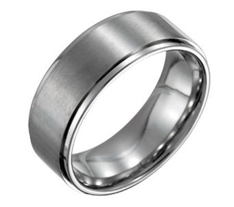 Forza Men's 8mm Steel w/ Ridged Edge SatinPolished Ring - J109528