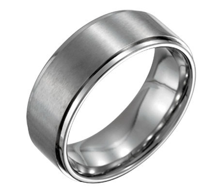 Forza Men's 8mm Steel w/ Ridged Edge SatinPolished Ring