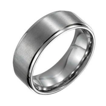 Forza Men's 8mm Steel w/ Ridged Edge SatinPolished Ring