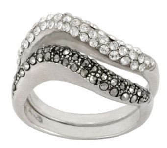 Suspicion Sterling Marcasite & Crystal Two Stackable Ring Set - J112428