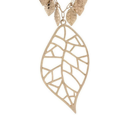 """As Is"" Jessica Simpson Leaf Collection Necklace with Leaf Pendant"