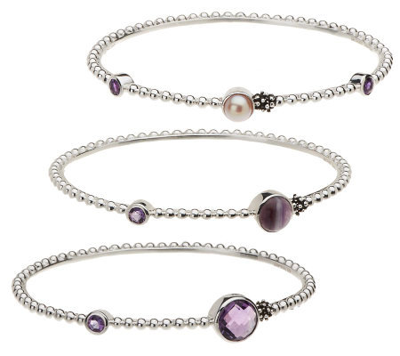 """As Is"" Michael Dawkins Sterling Set of 3 Gemstone Slip On Bangles"