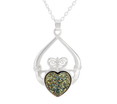 "JMH Jewellery Sterling Silver Claddagh Drusy Quartz Pendant w/ 18"" Chain"