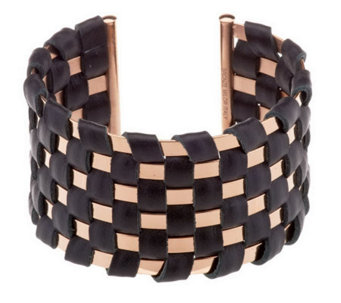 Bronzo Italia Bold Polished Basket Weave Leather Cuff - J284328