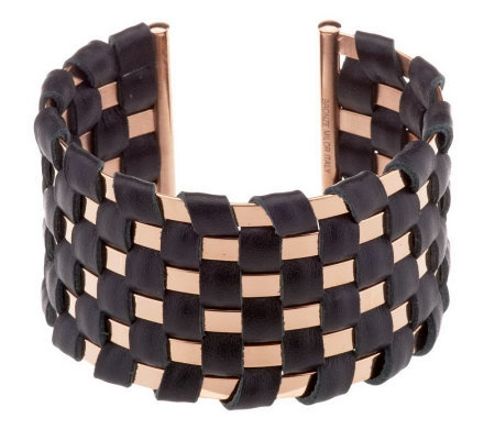 Bronzo Italia Bold Polished Basket Weave Leather Cuff