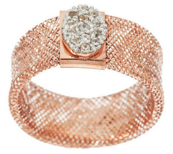 VicenzaGold Oval Crystal Station Woven Mesh Stretch Ring, 14K - J285528