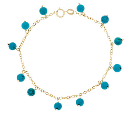 "14K Gold 7"" Turquoise Bead Dangle Bracelet"