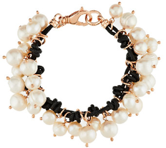 Honora Cultured Pearl Leather Charm Bronze Bracelet - J291328