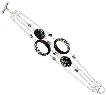 Michael Dawkins Starry Night Sterling & Pave Black Spinel Row Bracelet