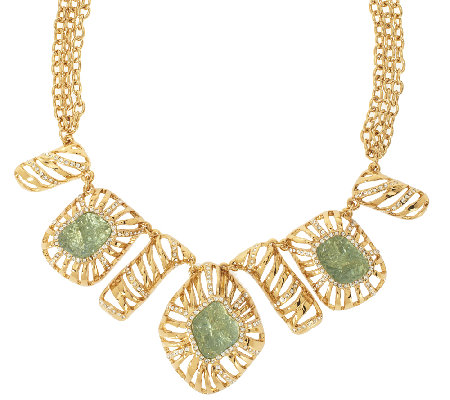 Kara Ross Goldtone Simulated Drusy Bib Necklace