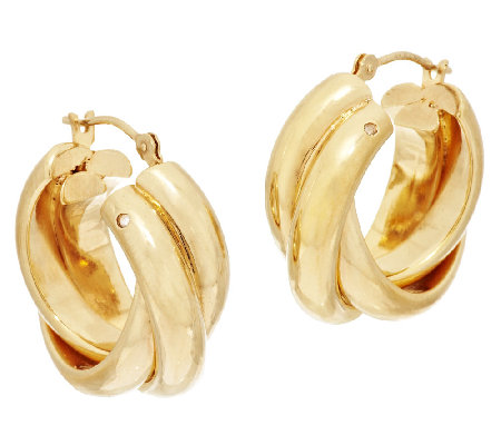 Polished Triple Wrapped Huggable Hoop Earrings, 14K