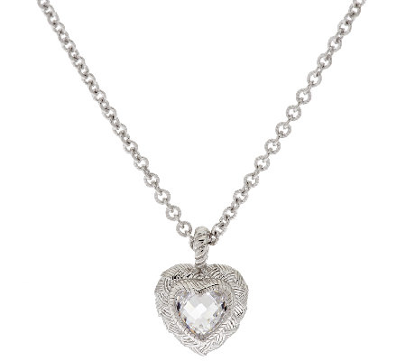 Judith Ripka Sterling & Diamonique Adjustable Heart Necklace